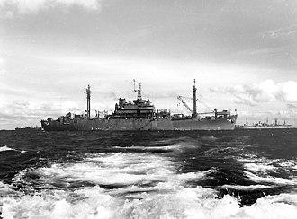 USS Teton - Image: USS Teton (AGC 14) off Okinawa in 1945