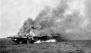 USS Ticonderoga (CV-14) burning in Jan 1945.jpg