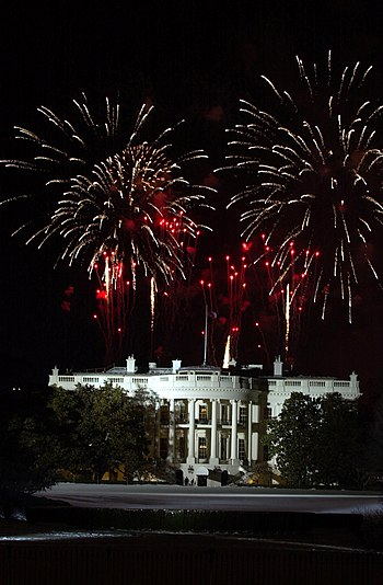 US Navy 050119-N-1928O-081 Fireworks explode over the White House on the eve of President Bush's inauguration at the Ellipse in Washington D.C.jpg