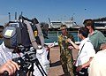 US Navy 050531-N-3455P-003 Commander, 1st Brigade, Australian Brigadier Gen. John Cantwell, is interviewed by Australian media about Exercise Talisman Sabre.jpg