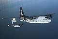 US Navy 070205-M-3968C-119 Two KC-130J Hercules aircraft, assigned to Marine Aerial Refueler Transport Squadron (VMGR) 352, stagger themselves during a refueling training exercise off the coast of Southern California.jpg