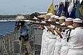 US Navy 070902-N-0995C-043 Naval honor guard members fire a rifle salute to commemorate the end of World War II in a ceremony held aboard the USS Missouri Memorial.jpg
