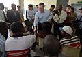 US Navy 070907-N-0194K-202 Secretary of Health and Human Services, Michael Leavitt speaks with Haitian patients awaiting medical care during his tour of the Military Sealift Command hospital ship USNS Comfort (T-AH 20) medical.jpg