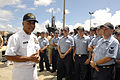 US Navy 080612-N-9818V-107 Master Chief Petty Officer of the Navy (MCPON) Joe R. Campa Jr. holds an all-hands call with the Sailors assigned to the fast-attack submarine USS Charlotte (SSN 776).jpg