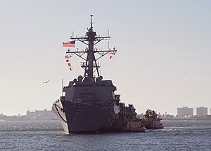 US Navy 091204-N-0209M-003 The Arleigh Burke-class missile destroyer USS Wayne E. Meyer (DDG 108) arrives at its new homeport of San Diego after transiting from the Bath Iron Works shipyard in Bath, Maine