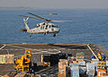 US Navy 100205-N-1082Z-005 An MH-60S Sea Hawk helicopter assigned to Helicopter Sea Combat Squadron (HSC) 28, takes off from the amphibious dock landing ship USS Ashland (LSD 48).jpg