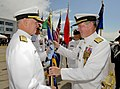 US Navy 101006-N-6138K-166 Adm. Mark Fitzgerald, right, passes the U.S. Navy flag to Chief of Naval Operations (CNO) Adm. Gary Roughead.jpg