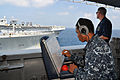 US Navy 101020-N-7293M-318 Sailors observe the positions of the Military sealift Command fleet replenishment oiler USNS Big Horn (T-AO 198) and the.jpg