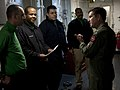 US Navy 101214-N-7981E-394 Vice Adm. Allen G. Myers speaks to Sailors in an arresting gear machinery room during a visit to USS Carl Vinson (CVN 70.jpg