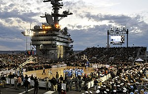 Carrier Classic - The North Carolina Tar Heels and Michigan State Spartans await the tipoff of the 2011 Carrier Classic on the flight deck of the USS Carl Vinson.