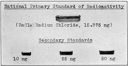 Glass tube of radium chloride kept by the US Bureau of Standards that served as the primary standard of radioactivity for the United States in 1927. US radium standard 1927.jpg
