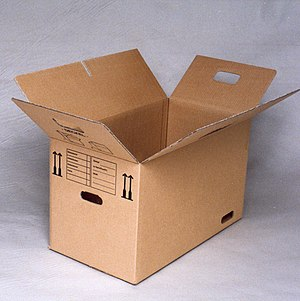 Corrugated box design - Partial overlap box with interlocking slots to temporarily close box