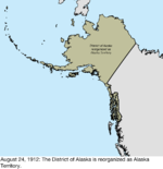 Map of the change to the United States in northwest North America on August 24, 1912