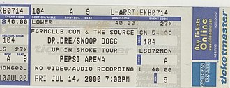Dr. Dre - Ticket for Dr. Dre's Up in Smoke Tour in Albany, New York, July 2000.