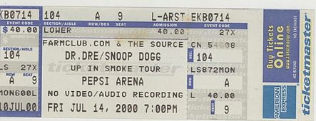 Ticket for Dr. Dre's Up in Smoke Tour in Albany, New York, July 2000. Up in Smoke Tour concert ticket 2.jpg