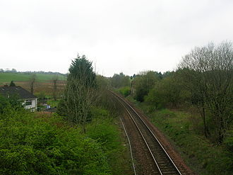 Uplawmoor - Caldwell / Uplawmoor Station site in 2007. looking towards Lugton. Part of the main station building is on the right.