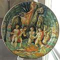 Urbino, bottega di francesco xanto avelli, orfeo colpito dalle donne della tracia, 1532.JPG