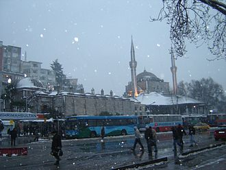 Üsküdar - Central Üsküdar on a snowy day, with Mihrimah Sultan Mosque in the background
