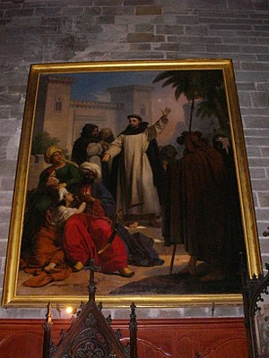 Infidel - The Christian painting Saint Vincent Ferrer preaching to the Infidels by Jean-Baptiste Mauzaisse (1820) hanging in St. Peter's Cathedral, Vannes, the place of burial for Saint Vincent Ferrer