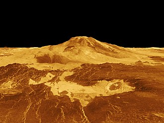 Vertical exaggeration - A NASA projection of Maat Mons on Venus, with vertical exaggeration used to emphasize the mountain's height.