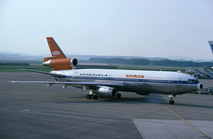 Viasa - A Netherlands-registered McDonnell Douglas DC-10-30 at Zürich Airport in VIASA livery with additional KLM titles, in 1978. The aircraft was leased from KLM.