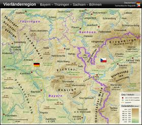 Carte de la région du Fichtelgebirge.