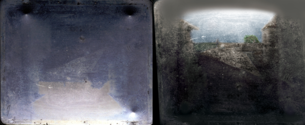 View from the Window at Le Gras, 1826 or 1827, the earliest surviving camera photograph. Original plate (left) & colorized reoriented enhancement (right). View from the Window at Le Gras colorized 2020 new.png