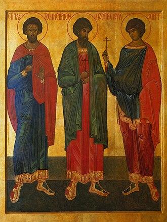 Anthony, John, and Eustathius - Martyrs of Vilnius, medieval icon