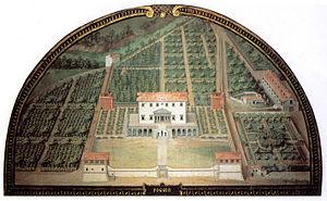 Medici villas - Painting of the Villa Medici di Poggio a Caiano by Giusto Utens