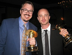 Aaron Paul - Paul with Breaking Bad creator Vince Gilligan at the 36th Saturn Awards on June 24, 2010