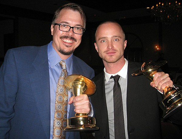 Gilligan and Aaron Paul at the 36th Saturn Awards on June 24, 2010 Vince Gilligan and Aaron Paul cropped.jpg