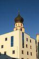 Voels am Schlern Blick vom Rathausplatz auf Kirchturm.jpg