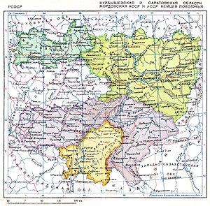 Volga German Autonomous Soviet Socialist Republic - Russian map depicting the location of the Volga German republic in the Soviet Union (orange, bottom of the map).