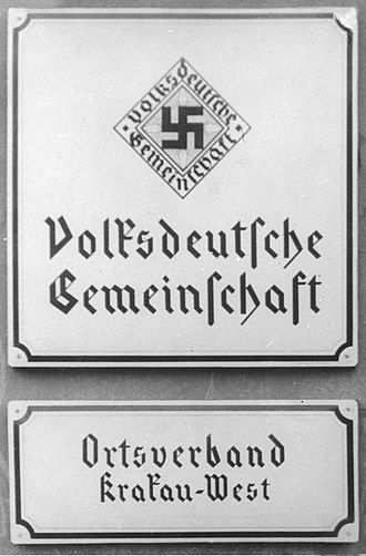 Volksdeutsche - Entry to Volksdeutsche office in Kraków 1940.