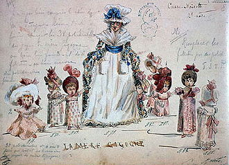 The Nutcracker - Ivan Vsevolozhsky's original costume designs for Mother Gigogne and her Polichinelle children, 1892