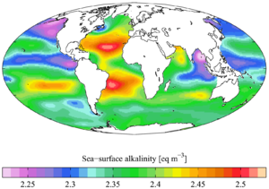 Alkalinity - Sea surface alkalinity (from the GLODAP climatology).