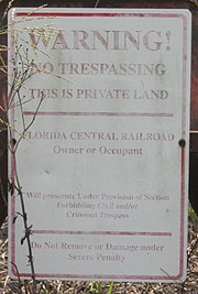 A sign warning against trespassing