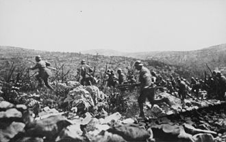 Ninth Battle of the Isonzo - Italian infantry after leaving the trenches on the eve of the battle