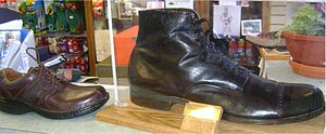 Robert Wadlow - Wadlow's shoe compared to a size 12