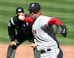 Knuckleball - Tim Wakefield in his throwing motion, showing his grip of the knuckleball