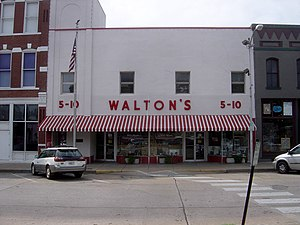 Sam Walton - Walton's Five and Dime, now the Wal-Mart Visitors Center, Bentonville.