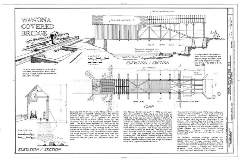 file wawona covered bridge elevation section plan wawona covered bridge spanning south fork