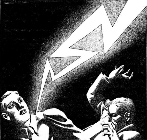 Black and white illustration of a man being hit by a stylised bolt of lightning.