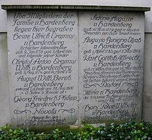 Gedenktafel der Familie von Hardenberg hinter dem Grabdenkmal (Quelle: Wikimedia)
