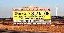 Welcome to Stanton sign on I-20