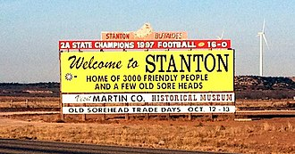 Stanton, Texas - Welcome to Stanton sign on I-20