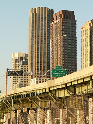 West Side Highway - The last elevated portion of the West Side Highway by Trump Place apartment complex