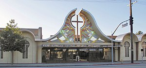 English: Front entrance to West Angeles Church...