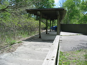 Toronto Zoo Domain Ride -  The Ruins of Weston Station in the Canadian Domain in May 2010.