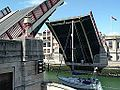 Weymouth Harbour Town Bridge opened for sailboat (2005).jpg